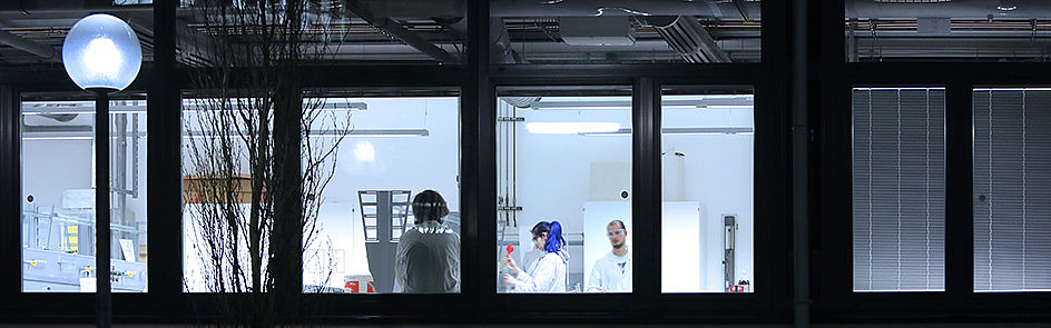 Chemiestudierende arbeiten im Labor.