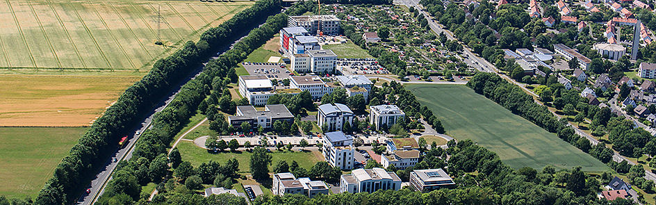 Der Technologiepark Paderborn – hier arbeiten Ausgründer aus der Universität und junge Start-ups sowie lokale Unternehmen. Auch einige Bereiche der Universität sind hier zu Hause.