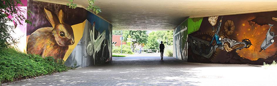 Vom Sportcampus aus kommend und vorbei am Kaninchen: Hier beginnt der Broder-Carstensen-Weg, der sich quer über den Campus erstreckt.